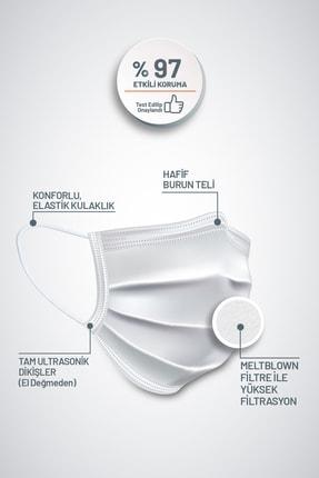 Vheal Med Medikal Maske 3 Katlı Meltblown Filtreli Burun Telli Full Ultrasonik Beyaz 50 Adet 1