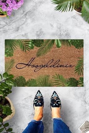 Evsebu Hoşgeldiniz Yaprak Dekoratif Kapı Önü Paspası 0