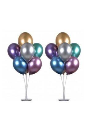 Partimarket Balon Standı 7 Çubuklu 75 Cm Ve 7 Adet Metalik Balon 0