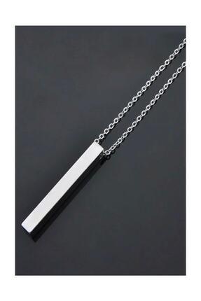 Tezgahtar ACCESSORY Unisex 70 Cm Uzun Bar Dikdörtgen Çelik Kolye 3