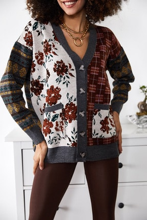 Xena Kadın Krem Çiçek Desenli Uzun Ceket Hırka 1KZK3-11386-03 4