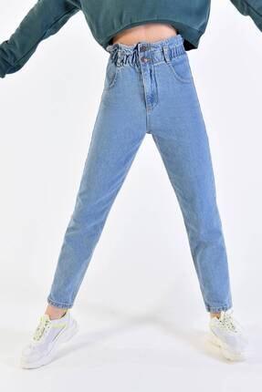 Addax Kadın Açık Kot Rengi Yüksek Bel Düğme Detaylı Jean Pn2601 - Pne ADX-0000020945 1