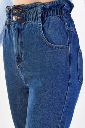 Addax Kadın Koyu Kot Rengi Yüksek Bel Düğme Detaylı Jean Pn2601 - Pne ADX-0000020945 3