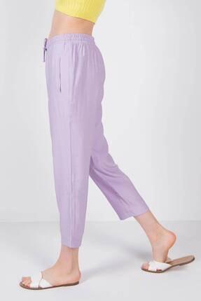 Addax Kadın Lila Bağlama Detaylı Pantolon 2
