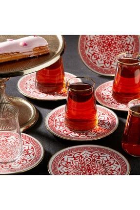 Karaca Ocha Kırmızı 12 Parça Çay Seti 0