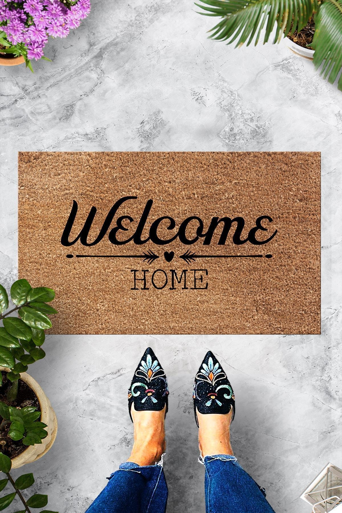 Pienso Home Welcome Home Bej Dekoratif Kapı Önü Paspası