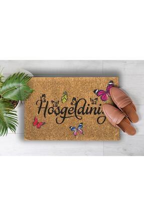 Evsebu Home Hoşgeldiniz Kelebek Dekoratif Çok Amaçlı Iç ve Dış Kapı Paspası 2