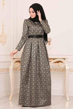 Tesettürlü Abiye Elbise - Jakarlı Siyah Tesettür Abiye Elbise 24415s