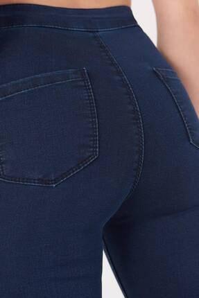 Addax Kadın Koyu Kot Rengi Yüksek Bel Pantolon Pn10915 - G8Pnn Adx-0000013630 2