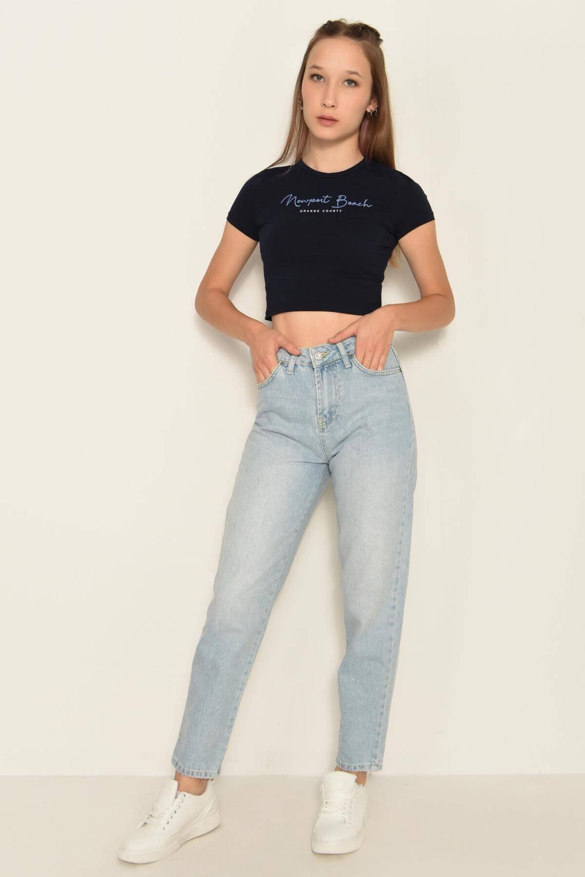 Addax Kadın Laci Yazı Detaylı Kısa T-Shirt P0991 - K9K10 Adx-0000022472