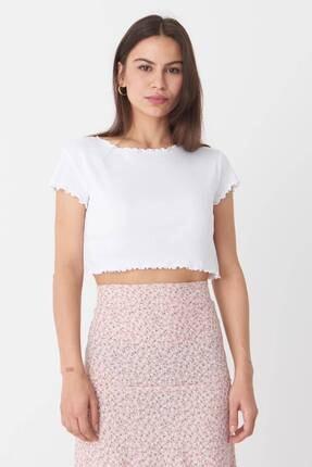 Addax Kadın Beyaz Basic T-Shirt P0972 - T7 Adx-0000022401 0