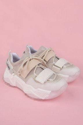 Marjin Kadın Beyaz Sneaker Dolgu Topuklu Spor Ayakkabı Cakir 4