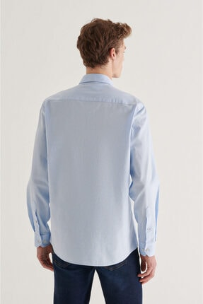 Avva Erkek Açık Mavi Düz Düğmeli Yaka Regular Fit Gömlek A11y2026 2