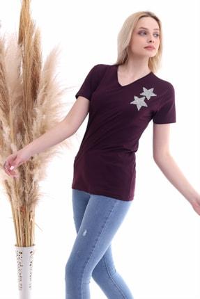 Cotton Mood Kadın Mürdüm Göğsü Yıldız Taşlı Kısa Kol V Yaka Bluz 3