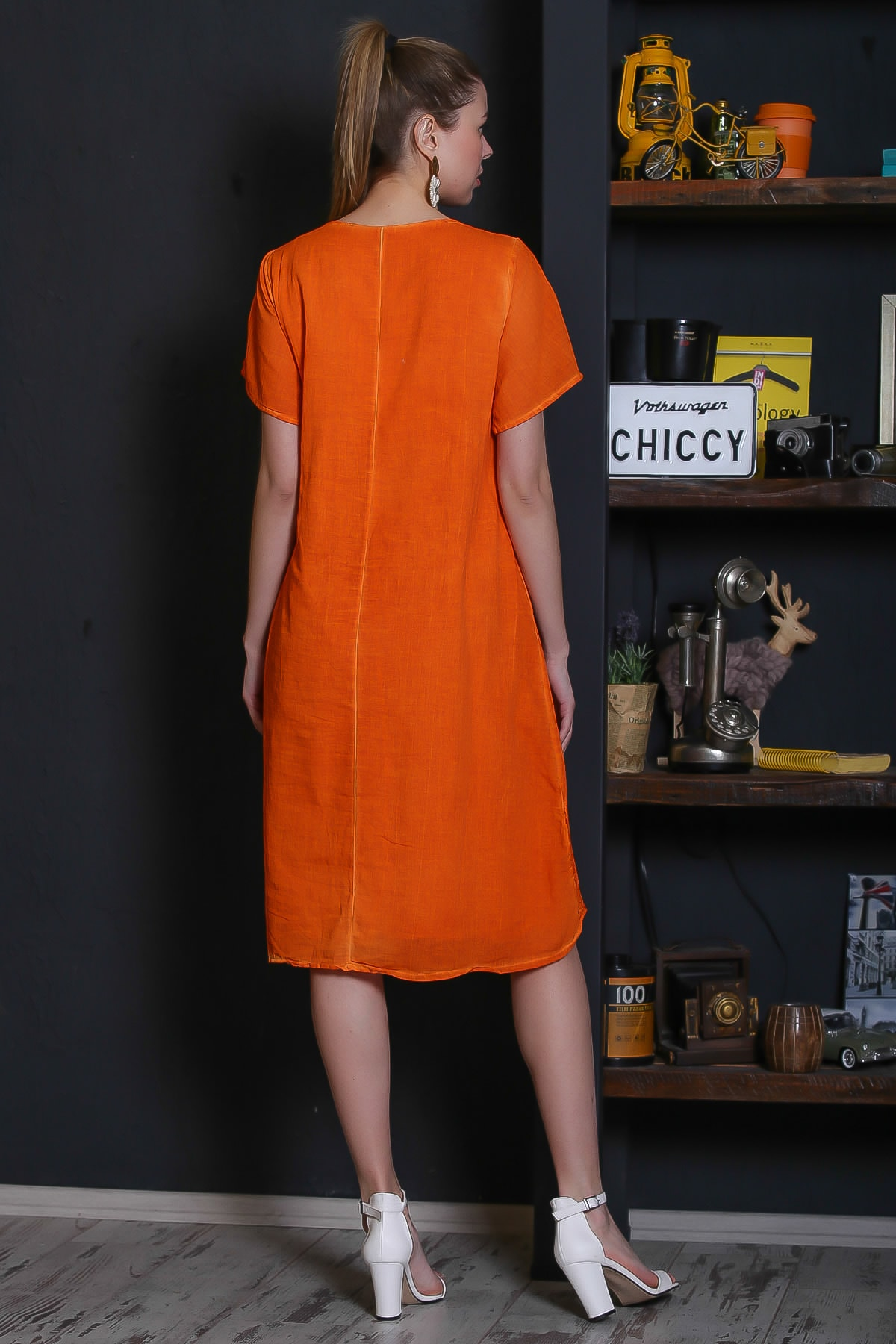 Chiccy Kadın Turuncu Dantel Yaka Ve Cep Detaylı Süs Düğmeli Astarlı Yıkamalı Elbise M10160000EL95281 3
