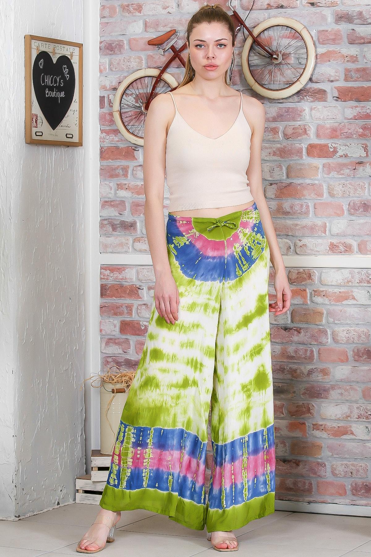 Chiccy Kadın Yeşil Batik Desenli Bol Paçalı Dokuma Pantolon M10060000PN98899 1