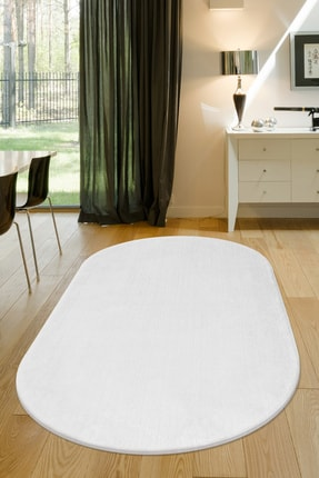 Dijidekor Beyaz Oval Post Dokuma Halı Peluş Yumuşacık Kaymaz Antibakteriyel 120x180 0
