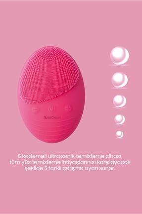 RossClean Pro Yüz Temizleme Ve Masaj Cihazı 5 Kademeli  Fototerapi Modu  Kablosuz Şarjlı  Pembe 2
