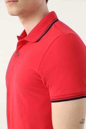 D'S Damat Ds Damat Slim Fit Kırmızı Pike Dokulu T-shirt 1