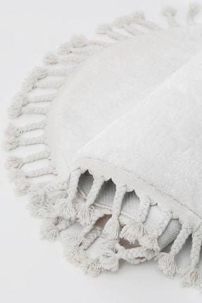 Dijidekor Beyaz Oval Post Dokuma Halı Saçaklı Peluş Yumuşacık Kaymaz Antibakteriyel 0