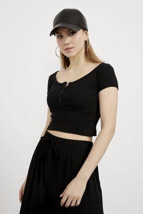 Arma Life Kadın Siyah Düğmeli Crop Bluz 2
