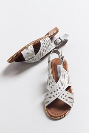 Niloshka Kadın Beyaz Lazerli Sandalet 2