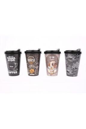Titiz Siyah 4'lü Set Orta Boy Desenli Kapaklı Kahve Bardağı 0