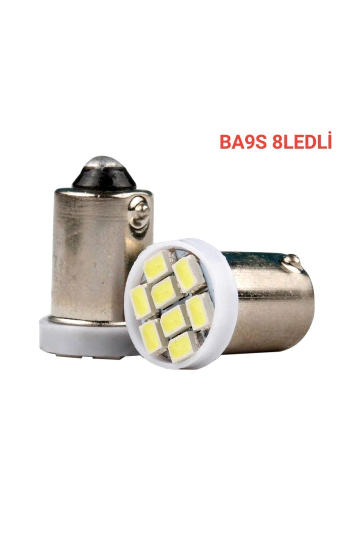 Ba9s Led Ampul Soket Tipi Ba9s Tırnaklı 8 Ledli Beyaz 12v 2ad Mini Boy