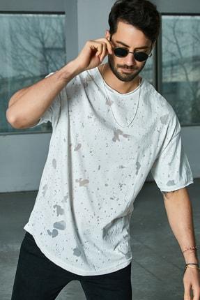 Sateen Men Erkek Beyaz Arkası Çapraz Biyeli T-Shirt 0