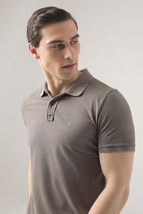 D'S Damat Erkek Vizon Regular Fit Pike Dokulu T-shirt 0