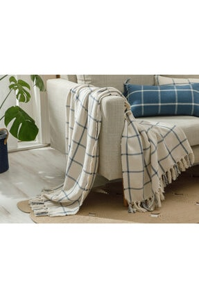 English Home Elegant Lines Pamuk Polyester Koltuk Şalı 130x170 Cm İndigo 1
