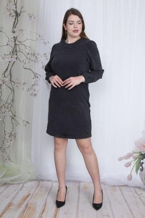 تصویر از Kadın Antrasit Arka Fermuarlı Likralı Kot Elbise 65N23467