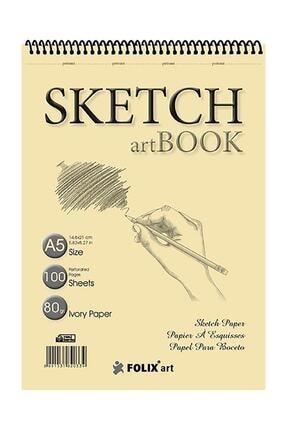 FOLİX ART Eskiz Defteri 90 Gr A5 100 Yaprak Spiralli Ivory Sketchbook 0