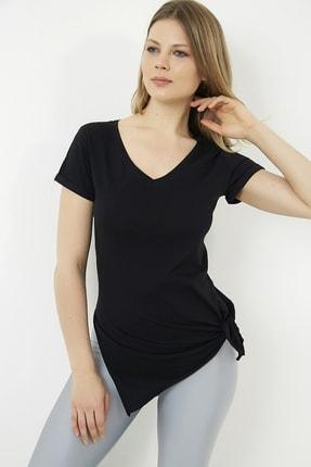 Vis a Vis Kadın Siyah V Yaka Yırtmaçlı Uzun Tshirt 1