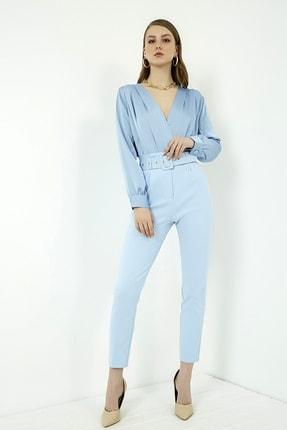 Vis a Vis Kadın Mavi Yüksek Bel Kemerli Pantolon 2
