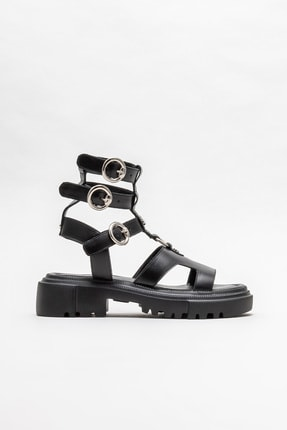 Elle Kadın Siyah Deri Spor Sandalet 0