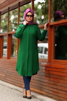 SALİHA Kadın Yeşil Büyük Beden Elit Tunik 0
