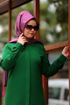 SALİHA Kadın Yeşil Büyük Beden Elit Tunik 2