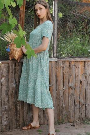 Her Mod'a Bir Moda Kadın Yeşil Papatya Desenli V Yaka Elbise 1