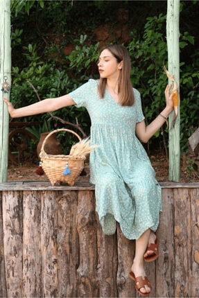 Her Mod'a Bir Moda Kadın Yeşil Papatya Desenli V Yaka Elbise 2