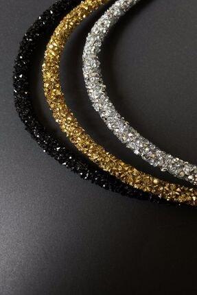 Bijuteri Online Siyah, Altın Ve Gümüş Renk Kristal Kadın 3'lü Işıltılı Günlük Kullanıma Uygun Taç Seti 1