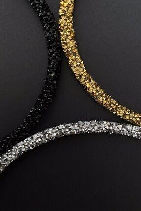 Bijuteri Online Siyah, Altın Ve Gümüş Renk Kristal Kadın 3'lü Işıltılı Günlük Kullanıma Uygun Taç Seti 2