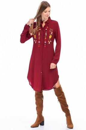 4over4 Kadın Bordo Işlemeli Kısa Gömlek Elbise 3
