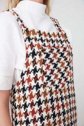 TRENDYOLMİLLA Ekru Kaz Ayağı Desenli Jile Elbise TWOAW20EL0208 2