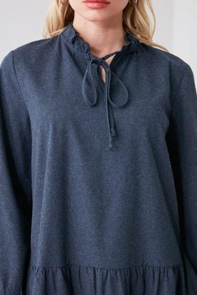 TRENDYOLMİLLA Lacivert Geniş Kesim Fırfırlı Elbise TWOAW20EL1506 2