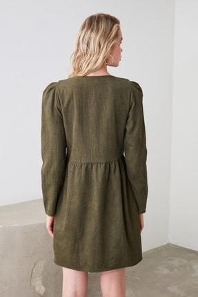TRENDYOLMİLLA Haki Düğme Detaylı Kadife Elbise TOFAW19ST0191 3