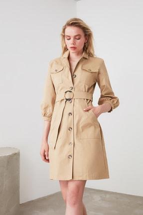TRENDYOLMİLLA Camel  Kemerli Gömlek Elbise TWOAW20EL1156 1