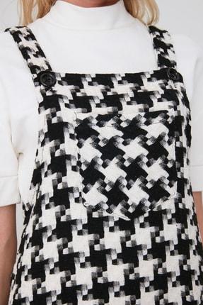 TRENDYOLMİLLA Siyah Kaz Ayağı Desenli Salopet Elbise TWOAW20EL0208 2