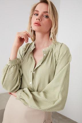 TRENDYOLMİLLA Yeşil Ekoseli Gömlek TWOAW21GO0114 0