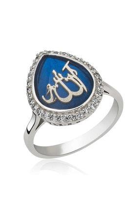 Gumush ?gümüş Sedef Allah Yazılı Kadın Yüzük 0
